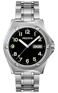 Mizzano Mens Workmens Watch 100m Black Dial St/Steel Band