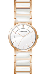 Mizzano Ladies Watch Rose Gold Plated and White Ceramic