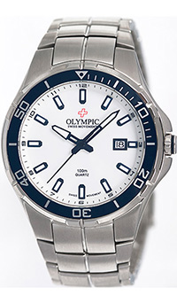 (RETIRED) Olympic Gents Sports Watch with White Dial Blue Bezel