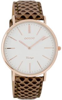OOZOO 40mm rose gold case / rose gold on white / grey-brown liz