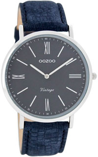 OOZOO 40mm silver case / silver on navy / textured navy
