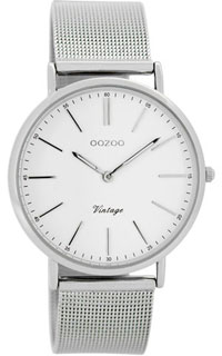 OOZOO 36mm silver case / silver on white / silver mesh