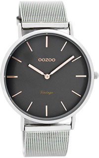 OOZOO 40mm matt silver alu case / rose gold on grey / matt silve