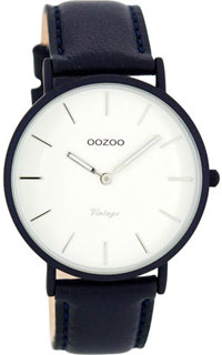 OOZOO 40mm matt navy alu case / silver on white / navy