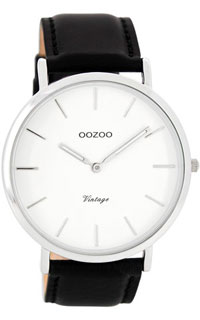 OOZOO 44mm silver case / silver on white / black
