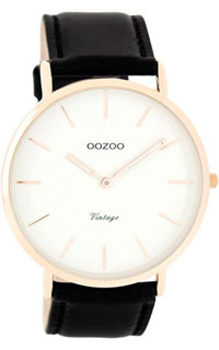 OOZOO 44mm rose gold case / rose gold on white / black