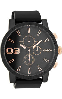 OOZOO 50mm matt black alu case / rose gold on black / black rubb