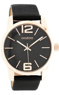 OOZOO 43mm rose gold case / rose gold on black / black