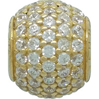 DANISH Rounded Pavé Cubic Zirconia 14ct Gold Charm