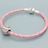 (LIMITED EDITION) Pink Single Leather Bracelet with Hope Bead