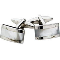 Spartan Stainless Steel MOP Rectangular Cufflinks