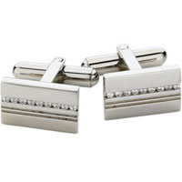 Spartan Stainless Steel Gem Set Rectangular Cufflinks