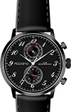Mizzano Mens 30m Black Multifunction Watch Brown Strap