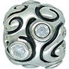 (RETIRED) DANISH Oversize Silver Bead with Cubic Zirconia