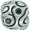 (RETIRED) DANISH Oversize Silver Bead with Black CZ