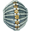 (RETIRED) Oversize Silver Bead with Honey Cubic Zirconia